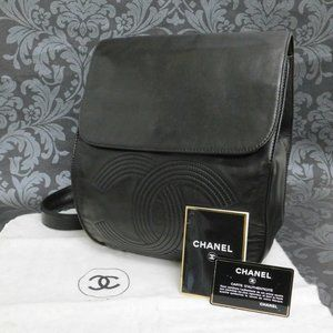 MINT! CHANEL BLACK LEATHER BACKPACK! RARE!
